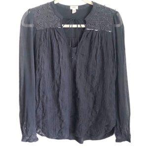 ANTHROPOLOGIE Paix navy blue peasant blouse XS